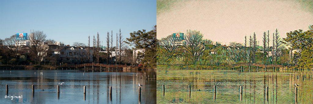 """「ニューラルフィルター」(スタイルの適用)。ゴッホの"""" Houses and Figures""""風スタイルを適用例した例。"""