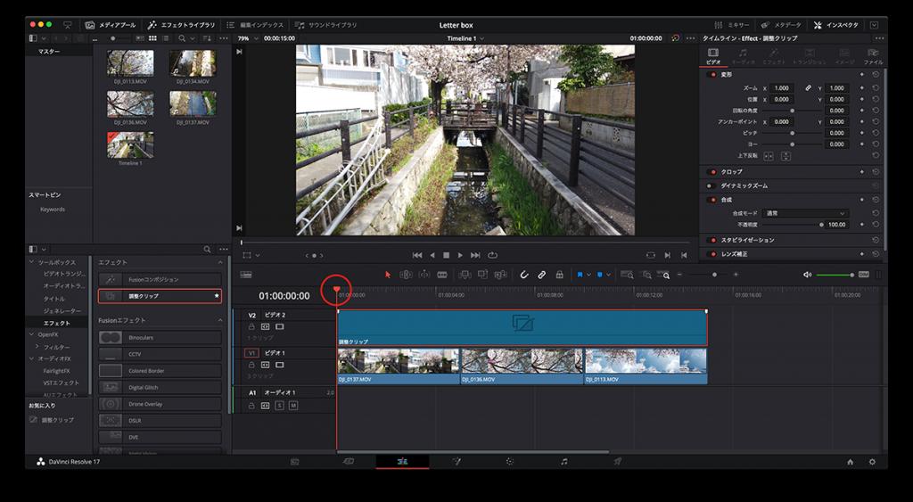 Screenshot(調整クリップを動画素材の長さに合わせて,再生ヘッドを 0 フレーム目に移動)